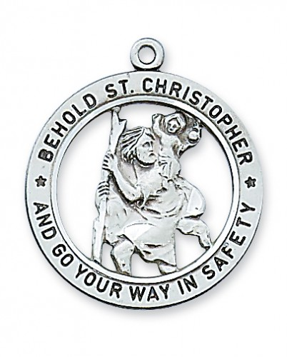 """Sterling Silver St. Christopher with 24"""" Chain"""