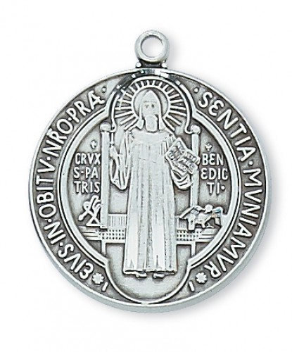 "Sterling Silver St. Benedict with 24"" Chain"