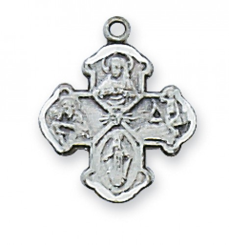 """Sterling Silver 4-way Medal 13""""with Chain"""