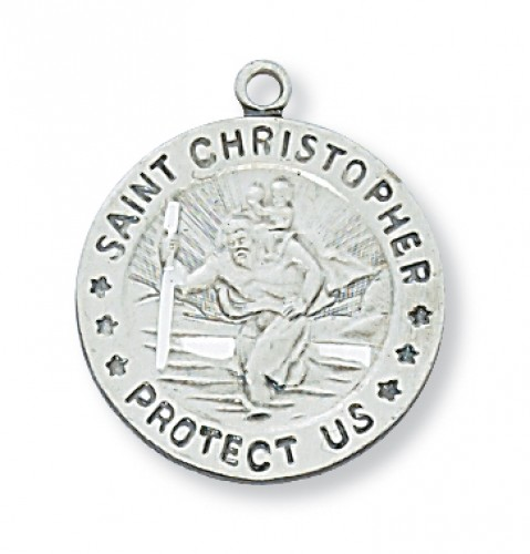 "Sterling Silver St. Christopher with 18"" Chain"