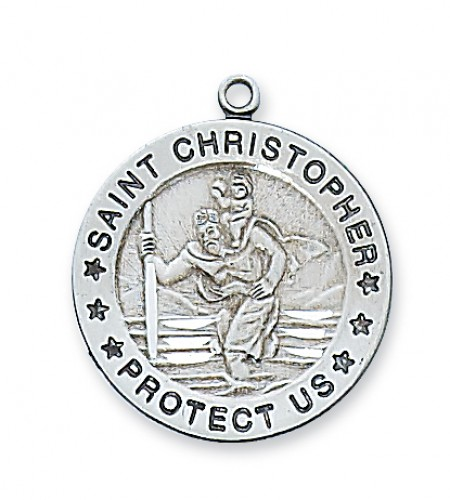 "Sterling Silver St. Christopher with 24"" Chain"