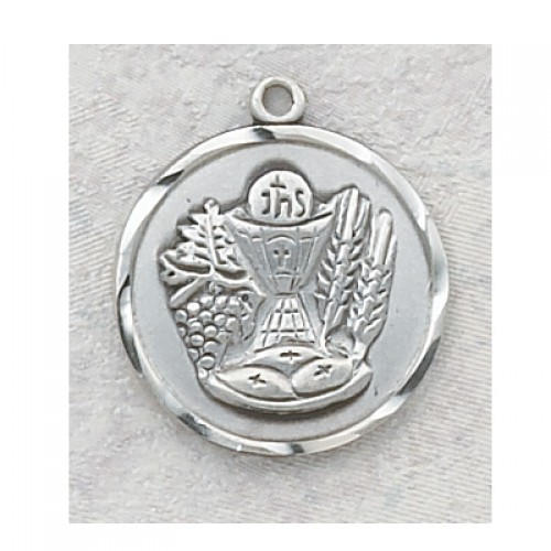 "Sterling Silver Communion Medal 18"" Chain"