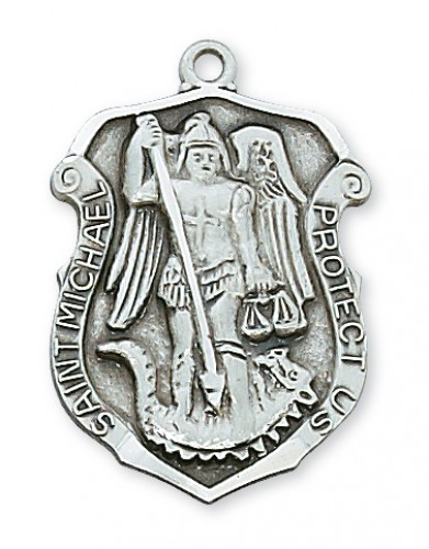 "Sterling Silver St Michael with 24"" Chain"
