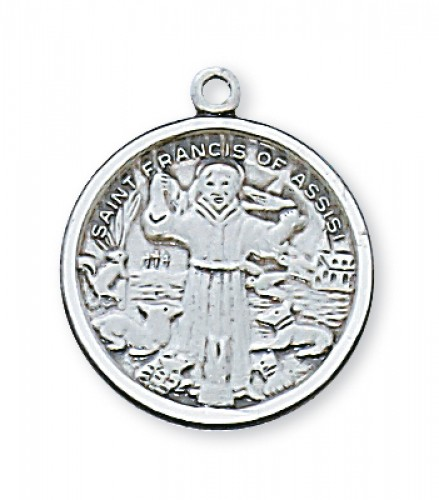"Sterling Silver St Francis with 18"" Chain"