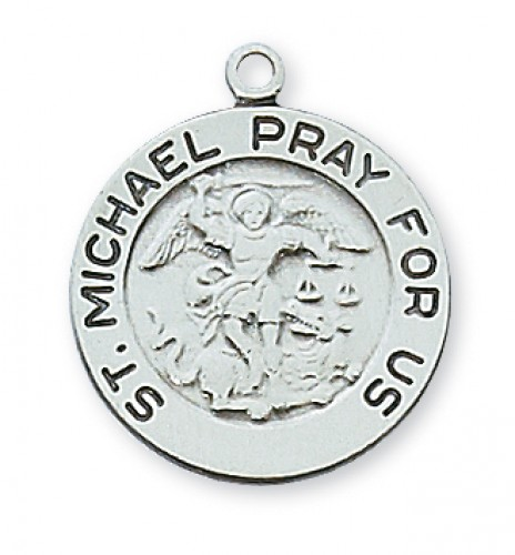 "Sterling Silver St Michael with 18"" Chain"