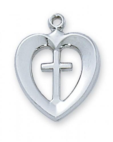 """Sterling Silver Heart & Cross 18"""" Ch"""