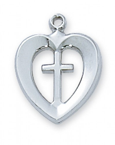 "Sterling Silver Heart & Cross 18"" Ch"