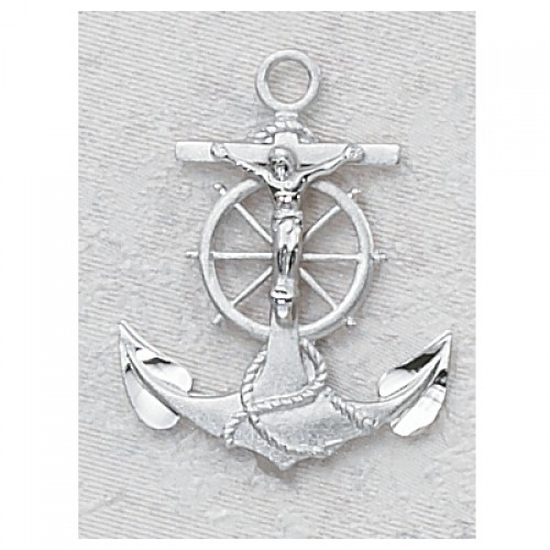 "Sterling Silver Anchor CruCrucifix with 24"" Chain"