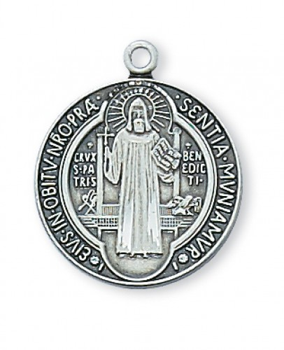 "Sterling Silver St. Benedict with 18"" Chain"