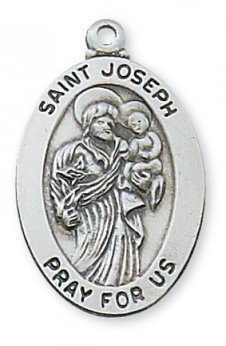 "Sterling Silver St Joseph with 20"" Chain"