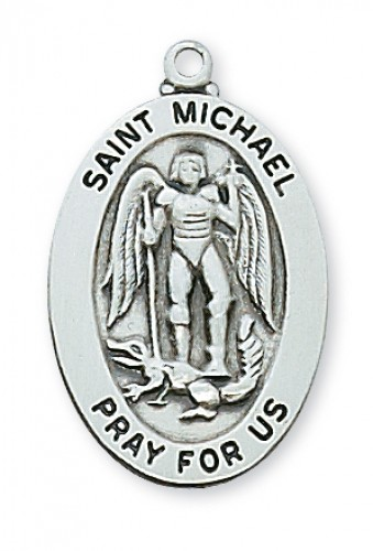 "Sterling Silver St Michael with 20"" Chain"