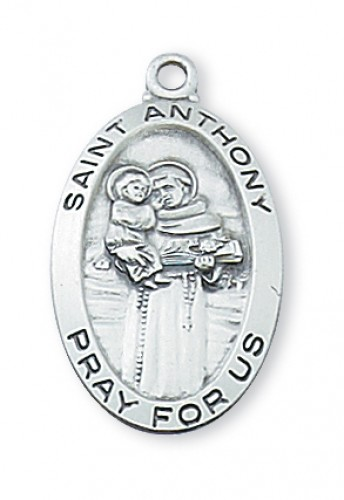 "Sterling Silver St Anthony with 18"" Chain"