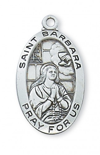 """Sterling Silver St Barbara with 18"""" Chain"""