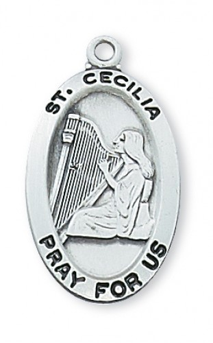 Sterling Silver St Cecilia with Chain