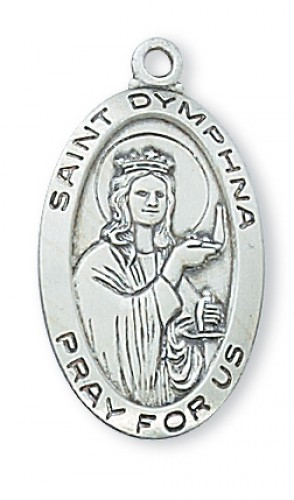 """Sterling Silver St Dymphna with 18"""" Chain"""