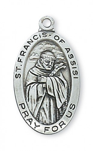 """Sterling Silver St Francis with 18"""" Chain"""