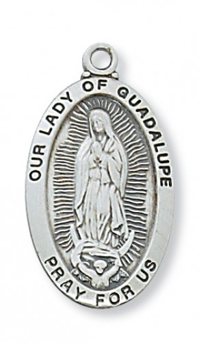 "Sterling Silver Our Lady of Guadalupe with 18"" Chain"