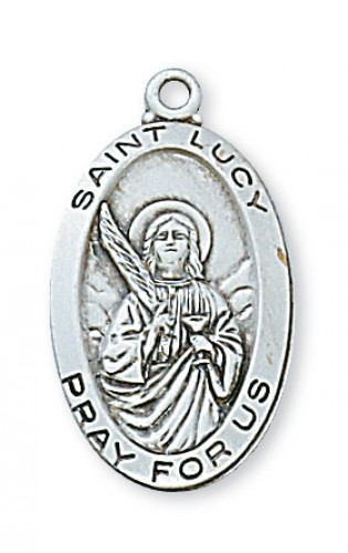 "Sterling Silver St Lucy with 18"" Chain"