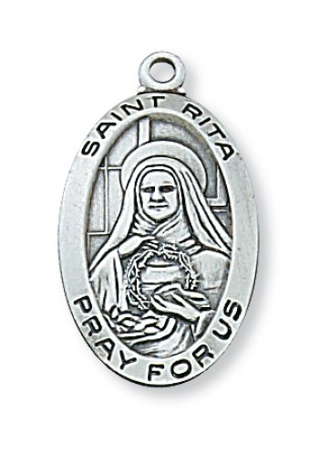 "Sterling Silver St Rita with 18"" Chain"