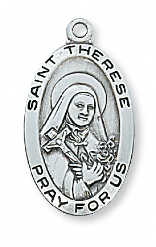 Pewter St Therese Little Flower Medal
