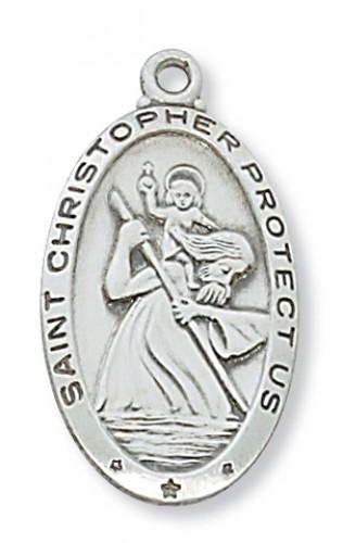"Sterling Silver St Christopher with 24"" Chain"