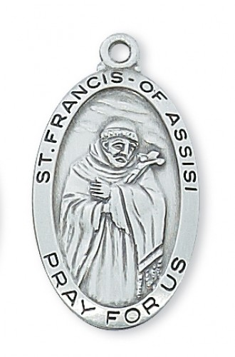 "Sterling Silver St Francis with 24"" Chain"