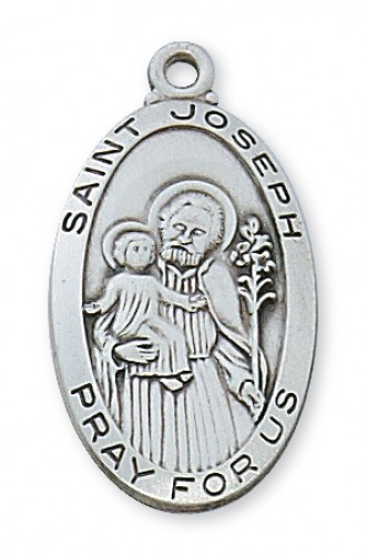 "Sterling Silver St Joseph with 24"" Chain"