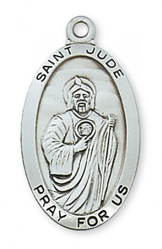 """Sterling Silver St Jude with 24"""" Chain"""