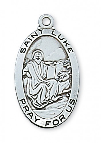 "Sterling Silver St Luke with 24"" Chain"
