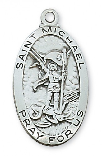 """Sterling Silver St Michael with 24"""" Chain"""