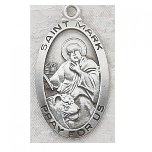 """Sterling Silver St Mark with 24"""" Chain"""