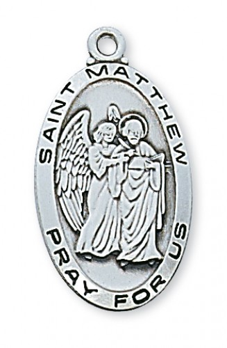 """Sterling Silver St Matthew with 24"""" Chain"""