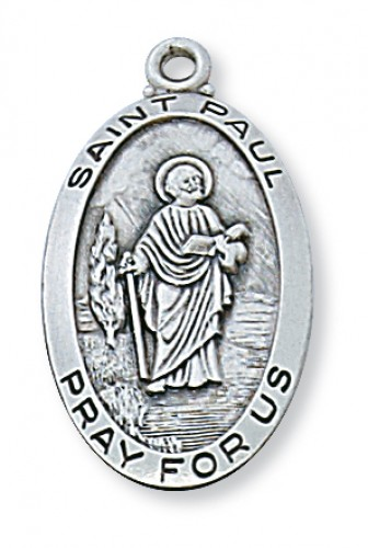 "Sterling Silver St Paul with 24"" Chain"