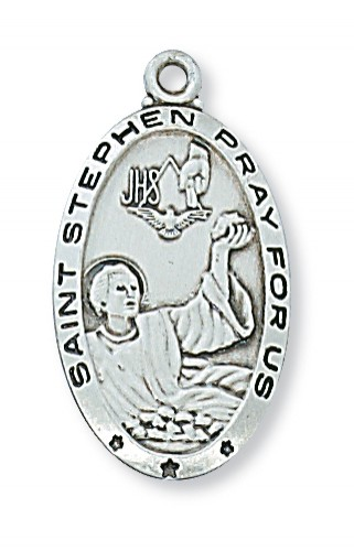 "Sterling Silver St Stephen with 24"" Chain"