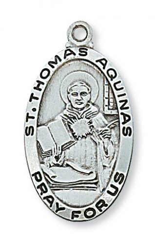 "Sterling Silver St Thomas Aquinas with 24"" Chain"