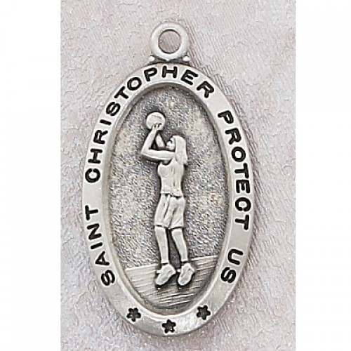 Sterling Silver Girl Basketball Medal with Chain