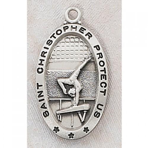"Sterling Silver Gymnastics Medal 18"" Ch/Box"