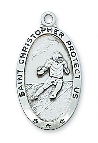 Sterling Silver Football Medal with Chain