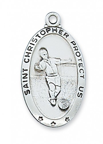 Sterling Silver Soccer Medal with Chain