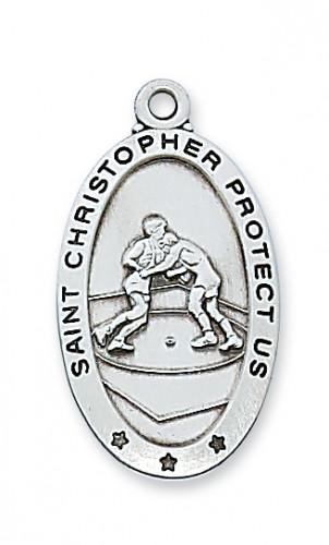 Sterling Silver Wrestling Medal