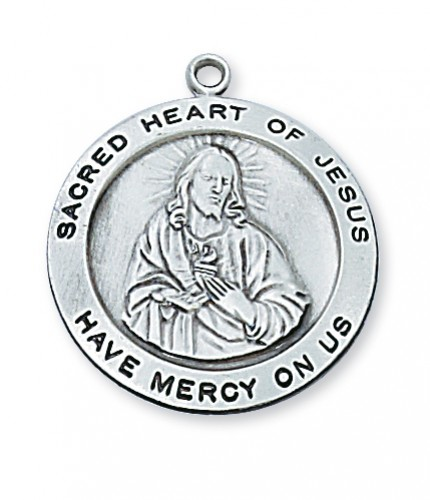 "Sterling Silver Round Sacred Heart 24"" chain&"""