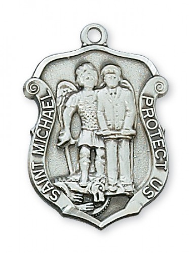 "Sterling Silver Med St. Mich with 20"" Chain"