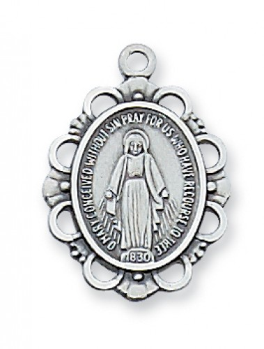"""Sterling Silver Miraculous with 18"""" Chain"""