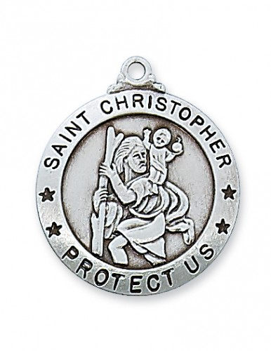 "Sterling Silver St. Christopher  24"" Chain"