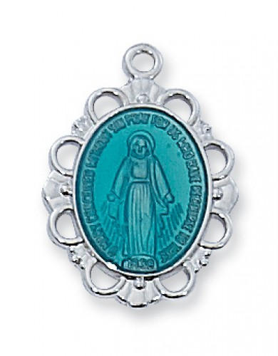 Sterling Silver Blue Miraculous Medal with Chain
