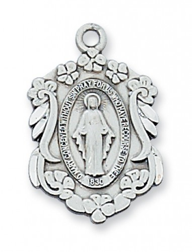"Sterling Silver Miraculous Medal with 18"" Chain"