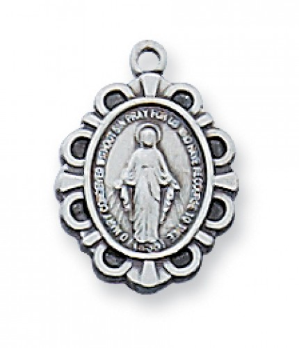Sterling Silver Miraculous Medal 16 Chain & Box""