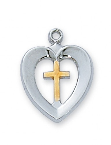 "Sterling Silver Tutone Heart Cross with 16"" Chain"