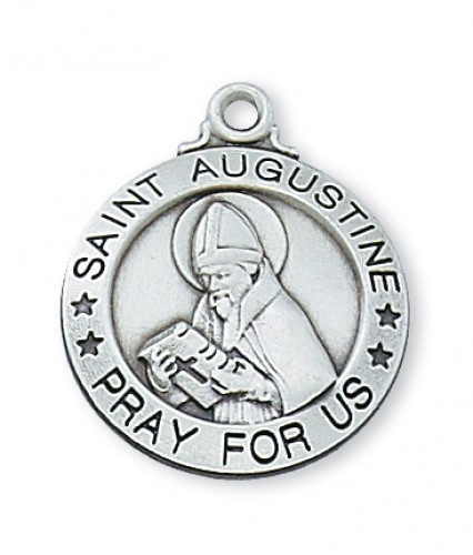 """Sterling Silver St. Augustine with 20"""" Chain"""