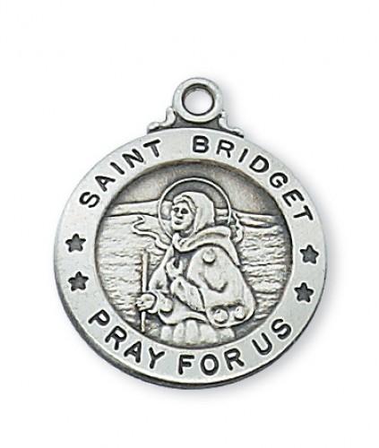 "Sterling Silver St. Bridget 20"" Chain & Box"